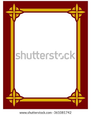 Border frame deco plaque. Vector art simple line corner