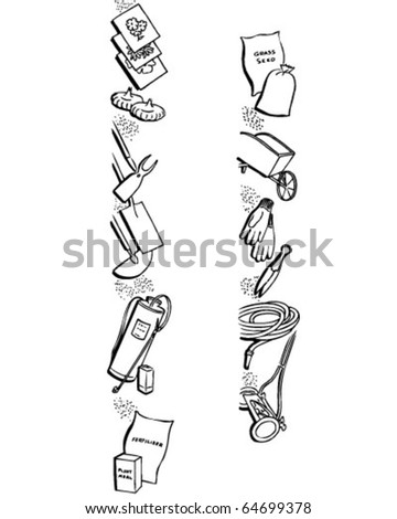 Border 1 - Garden Equipment - Retro Clipart Illustration