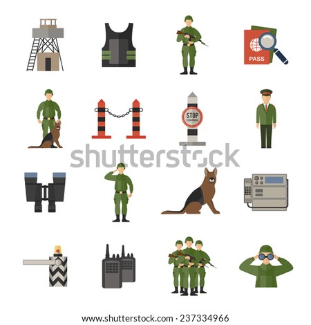 border guard icons flat set