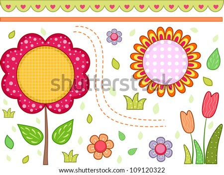 Border Illustration with a Floral Theme