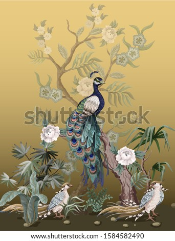 Border in chinoiserie style with peacock and peonies on golden background. Vector.