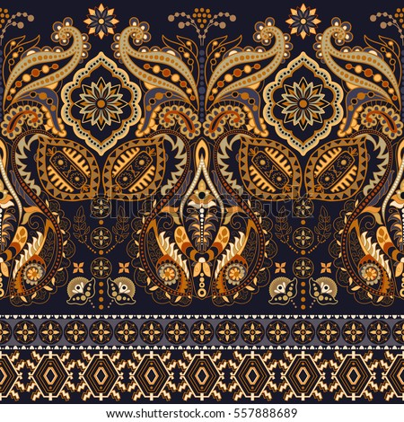 Border Indian floral Paisley patten. Seamless ornament print. Ethnic Mandala towel. Vector Henna style. Can be used for greeting business card background,