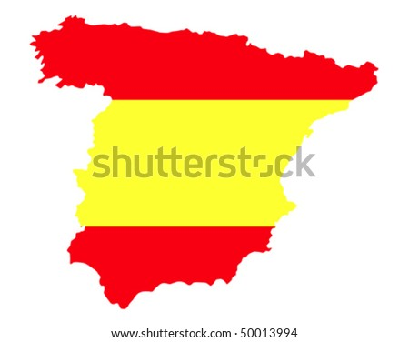border line of country spain filled with flag of the state
