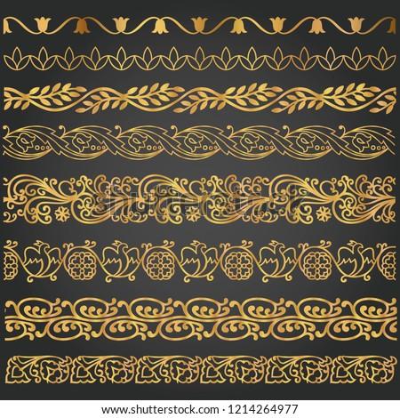 Border, lines ornamental vintage set. Decorative elements for design invitations, frames, menus #1214264977