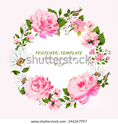 Border of flowers with place for a text.  Vector illustration