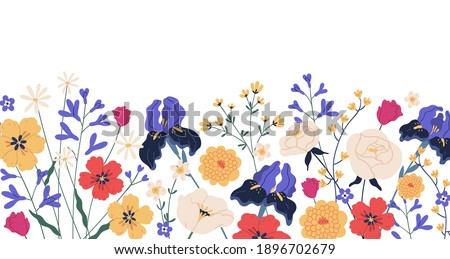 Border of gorgeous spring blooming flowers. Backdrop with iIrises, camomiles, roses, anemones and chrysanthemums. Floral flat vector illustration isolated on white background Stock photo ©