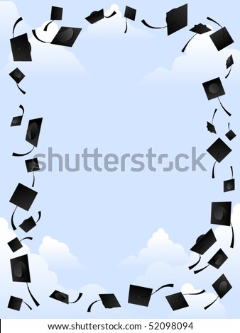 Border of graduation caps thrown into the sky
