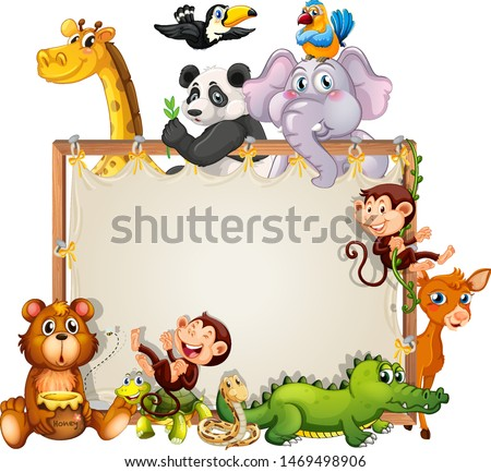 Border template design with cute animals illustration