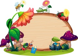 Border template design with insects in the garden background illustration