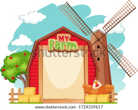 Border template design with red barn and chicken illustration Сток-фото ©