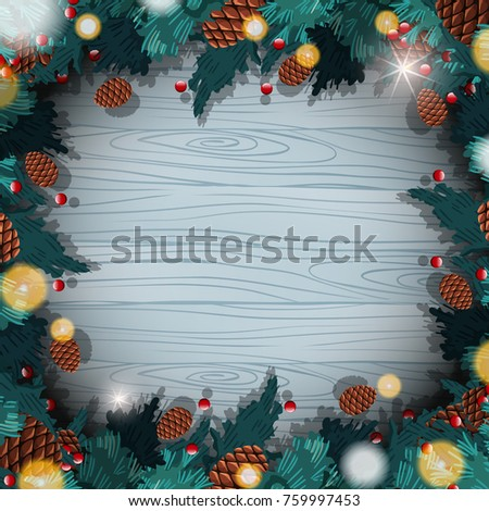 Border template with christmas pinecones illustration #759997453