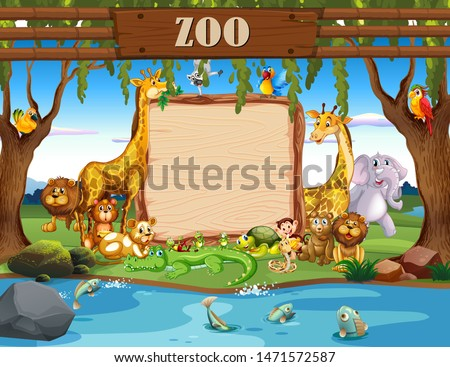 Border template with cute animals at the zoo illustration