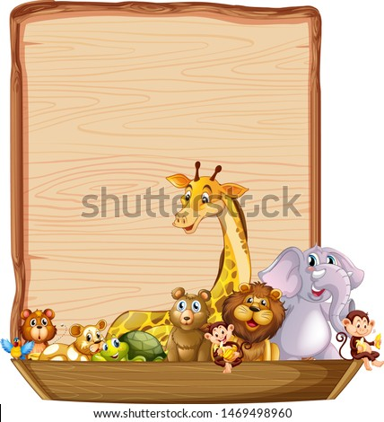 Border template with cute animals on wooden boat illustration