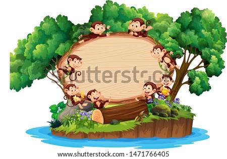 Border template with many monkeys on island illustration