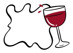 Border template with red wine in glass illustration