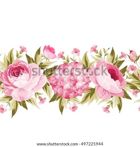 Border with blooming spring flowers in vintage style and clear text space. Line of flowers in vintage style isolated over white. Floral invitation card. Vector illustration.