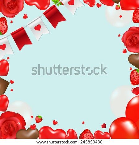 Border With Hearts And Flowers With Gradient Mesh, Vector Illustration #245853430