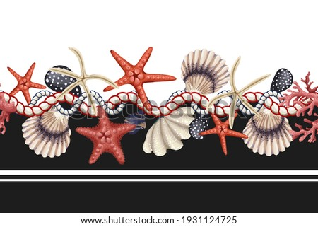 Border with starfishes, shells and rope. Vector trendy print.
