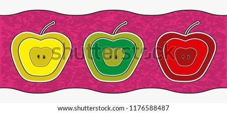 Border with the illustration of three apples of different colors and several concentric layers showing the seeds inside.  #1176588487