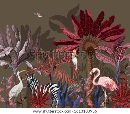 Border with tropical animals in jungle. Vector. Foto d'archivio ©