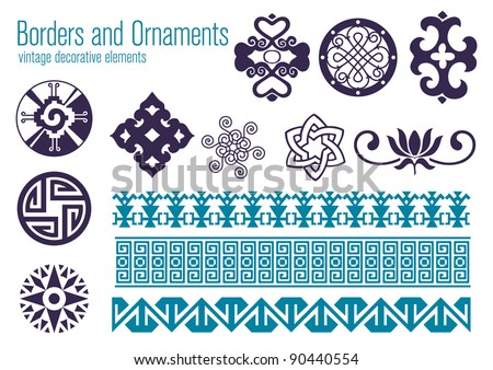 Borders and Ornaments, vintage decorative elements