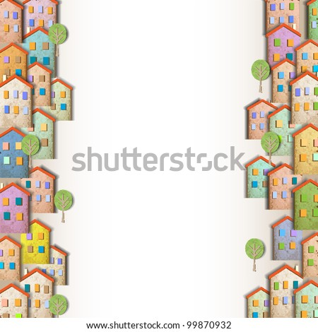 Borders of colorful homes made from old paper.Creative vector eps 10