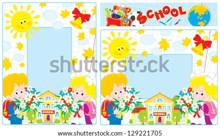 borders with a school and first graders holding bouquets of flowers