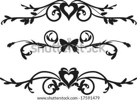 stock vector : Borders with Butterfly, hearts and leaves, one color.