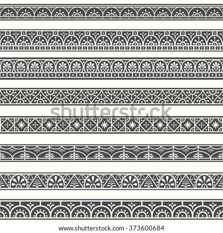 Borders with classical style Roman, Pompeian. Design elements. #373600684