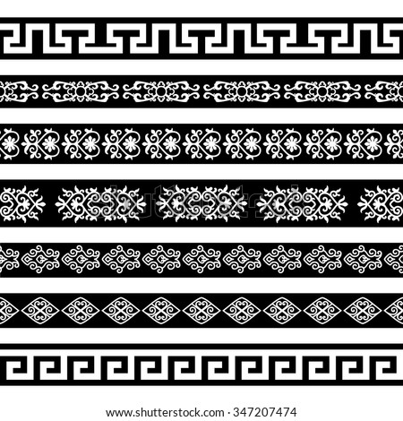 Borders with ornamental elements in asian style. Set 1. White on black. For divider or frame. #347207474