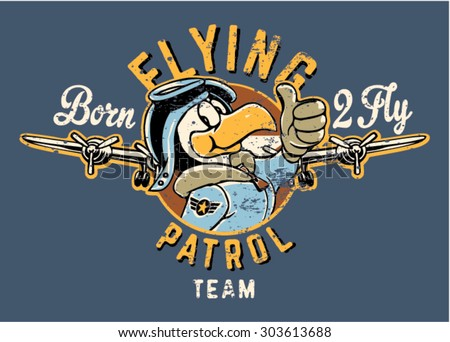 Stock Photo Born to fly cute eagle aviator, vector artwork for children wear, grunge effect in separate layer.