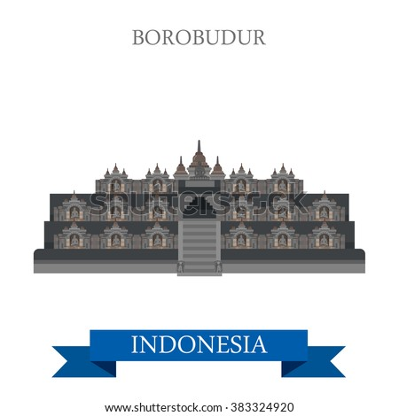 Borobudur Barabudur Buddhist temple in Indonesia. Flat cartoon style historic sight showplace attraction web site vector illustration. World countries vacation travel sightseeing Asia collection