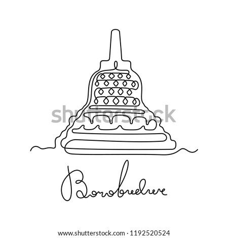 Borobudur continuous line illustration Foto stock ©