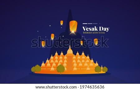 Borobudur lantern festival illustration to celebrate Vesak Day