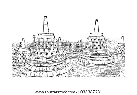 Borobudur or Barabudur is a 9th-century Mahayana Buddhist temple in Magelang, Central Java, Indonesia. Hand drawn sketch illustration in vector. Foto stock ©