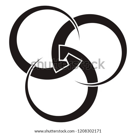 Borromean rings three interlocked circles of variable thickness for your logo, design or project.
