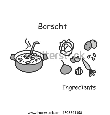 Bosch icon. Russian and Ukrainian cuisine Meat and vegetables soup or stew linear pictogram. Concept of traditional recipes ingredients and home cooking recipes. Editable stroke vector illustration