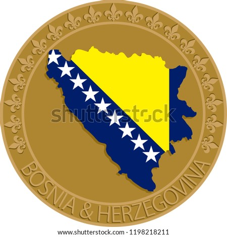 bosnia herzegovina flag and map