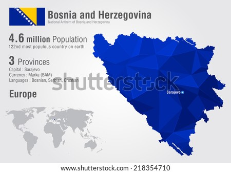 bosnia world map with a pixel