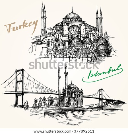 bosporus bridge hand drawn set