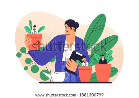 Boss cultivate potted plant with business people isolated. Mentoring and growing employees vector flat illustration. Concept of human resource management, supervise, professional growth and career
