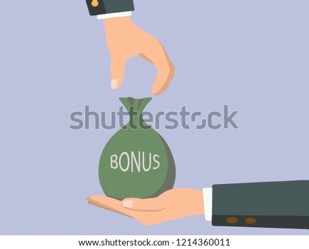 Boss gives a bag of money in a hand like a bonus. Handing awards concept. Give reward for the job.