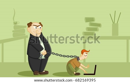 Boss has tied employee with chain. Stressed and sad businessman at work. Work under pressure, stressing situations, subordination, overwork and power abuse concept illustration vector.