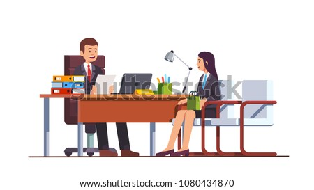 Boss holding CV or HR executive manager meeting job applicant woman in director office. Female employment candidate having job position interview. Business interior design flat vector illustration
