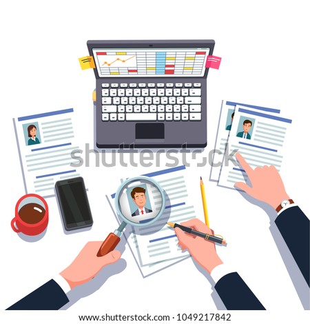 Boss & HR manager looking through business man, woman executive manager job candidates CV with magnifying glass making hiring decision. Employee headhunting research. Flat isolated vector illustration