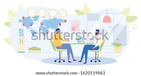 Boss Leading Job Interview with Young Man, Business Partners Meeting in Company Office, Employees Discussing Work Project, Teacher Teaching Student on Individual Training Flat Vector Illustration