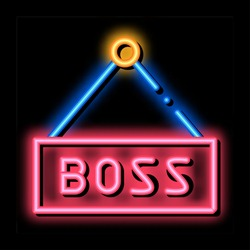Boss Nameplate neon light sign vector. Glowing bright icon Boss Nameplate isometric sign. transparent symbol illustration