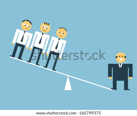 Boss outweighing his subordinates - comparative advantage  - stock vector