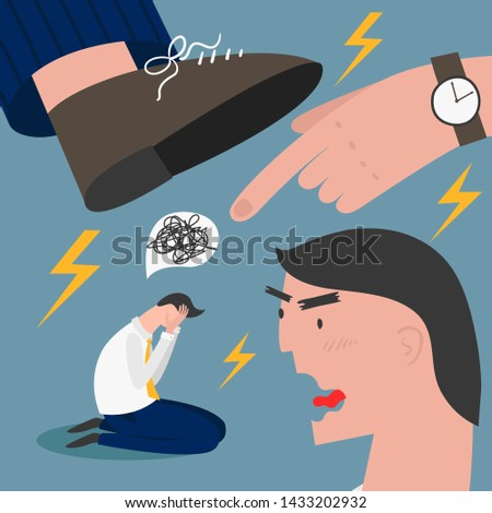 Boss pressure employee; tired, exhausted worker dealing with overly demanded pushy boss. Unrealistic expectations, deadline, stress disorder at work concept. How to eliminate stress at work. Foto stock ©