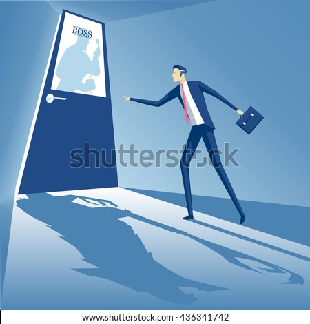 Boss shouting into the phone and an employee is standing at the door, and afraid to go inside, business concept boss monster, business concept fear of superiors